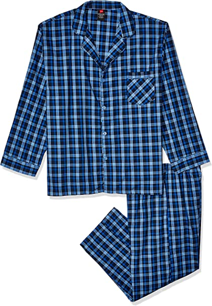 Size Small pants and shirt Hanes Men/'s Woven Pajama set Solid Blue