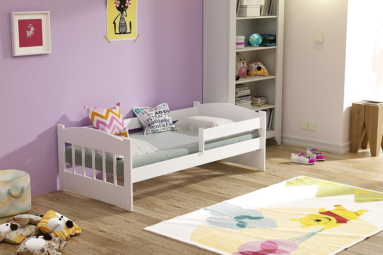 Kinderbett 160x80 mit Matratze und Bettlaken Massivholz (Weiß) KATIDO