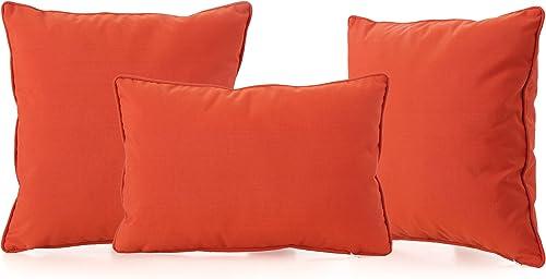 Corona Outdoor Patio Water Resistant Pillow Set 3, Orange