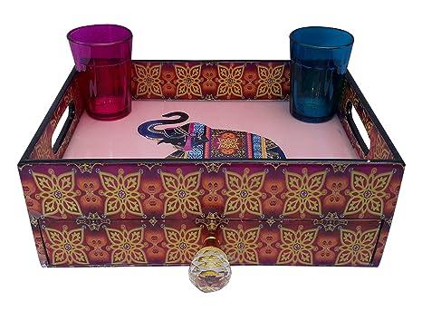 Impresión étnica de madera decorativa bandeja con cajón bandeja de cubertería/organizador/impreso con