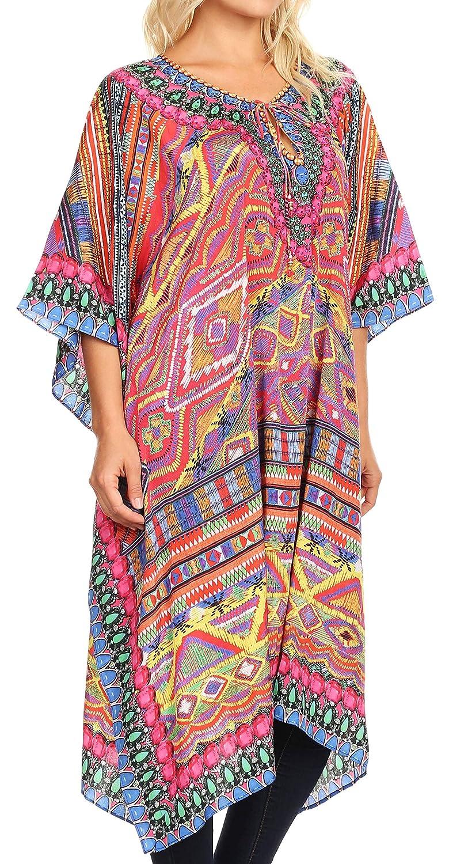 5135715f44a79 Sakkas 1822 - Jenni Women's Mid Length Boho Caftan Kaftan Dress Cover up  Flowy Rhinestone - AR3-Red - OS at Amazon Women's Clothing store: