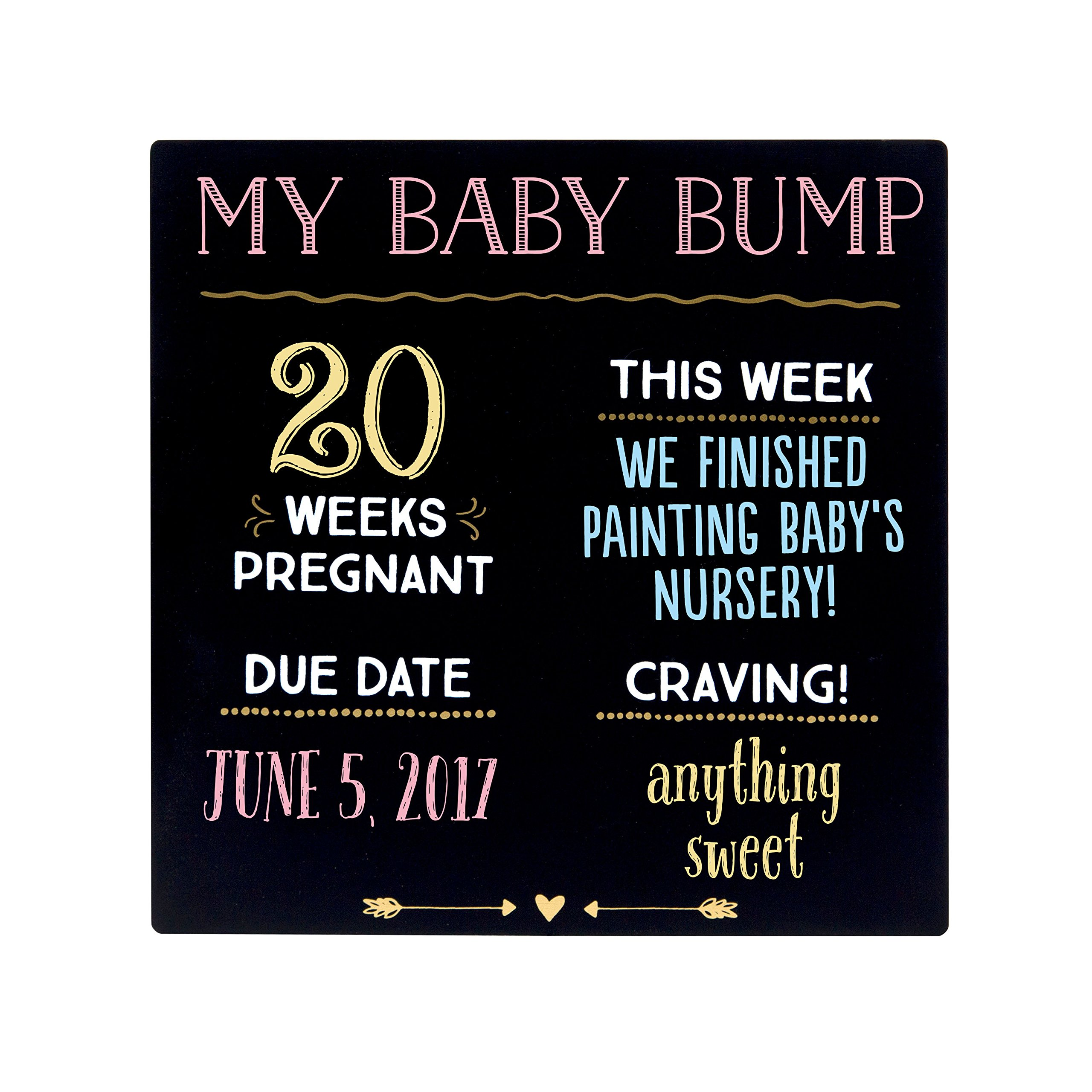 Pearhead My Baby Bump Reusable Photo Sharing Pregnancy Chalkboard with Included Chalk for Expectant Mothers