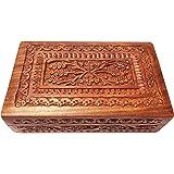 Regalo unico del giorno delle madri,Intagliato a mano in legno Decorative Box, scatole di gioielli per le donne, Portagioie con intagli floreali,