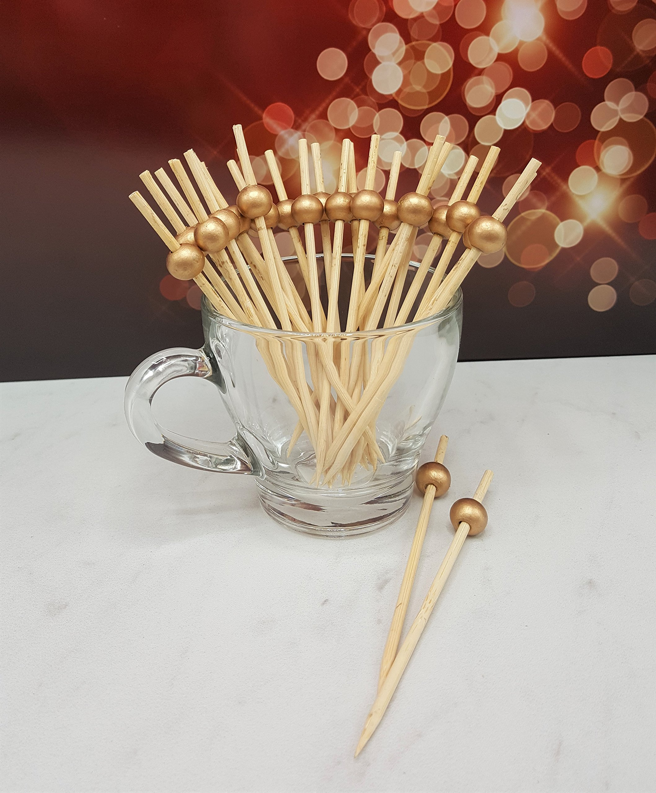100 count 4.5'' Bamboo Bead Ball Pick (GOLD)