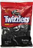 TWIZZLERS NIBS Candy, Black Licorice Candy, 6 Ounce Bag  (Pack of 12) (Halloween Candy)