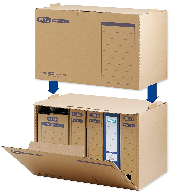 4 x Archiv-Container Archivsystem mit Klappdeckel Archivkarton Archiv Ablagebox