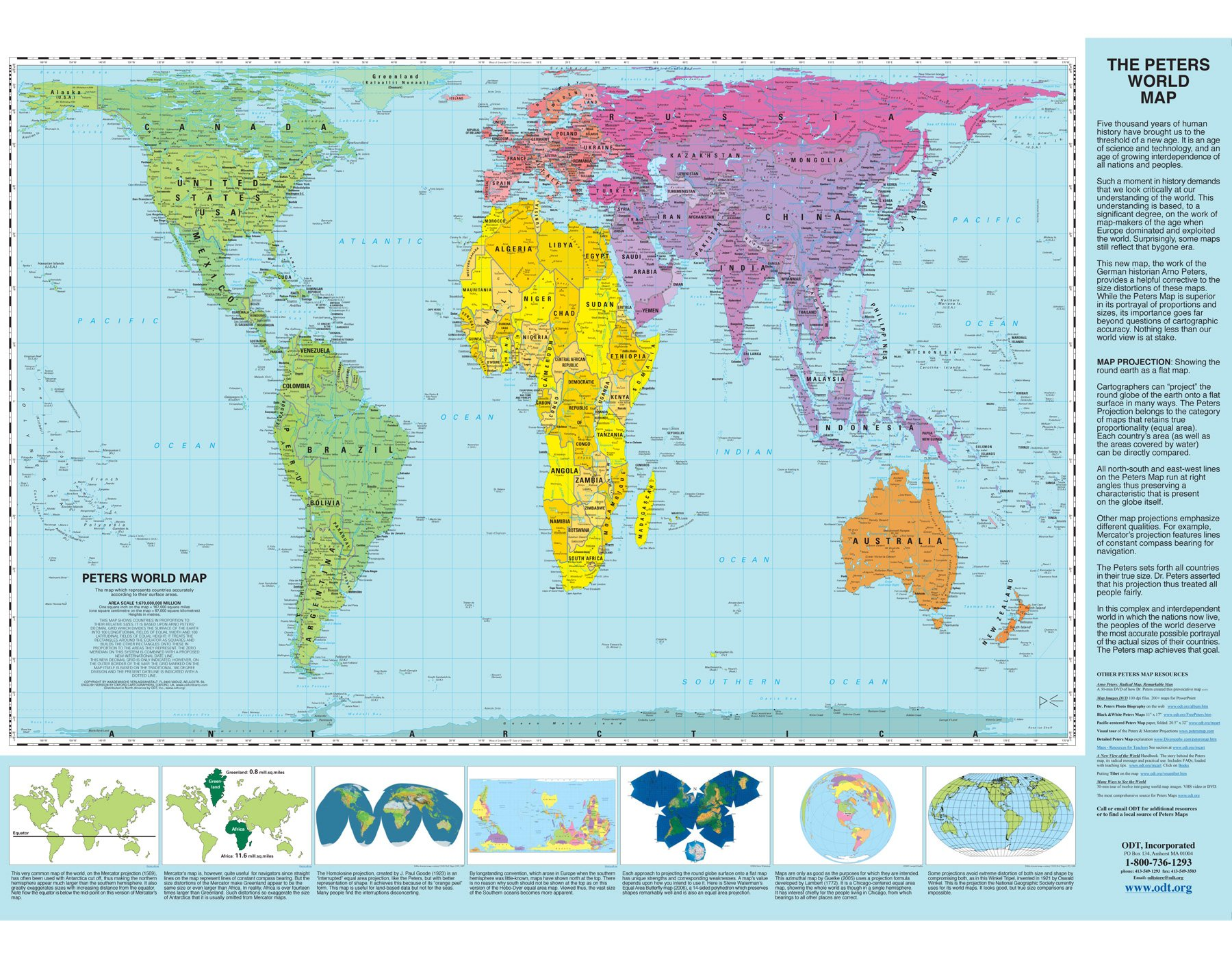 Peters Projection World Map Laminated Arno Peters ODTmapscom - Accrate map of us