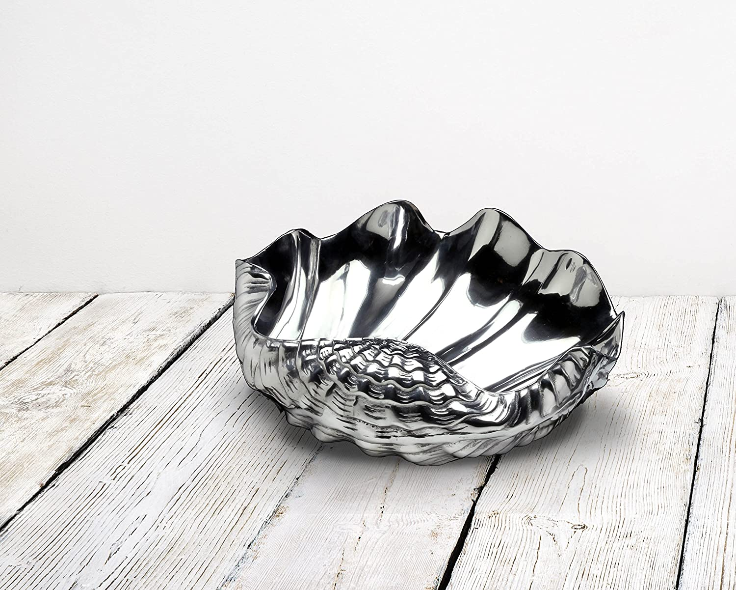 Coastal Christmas Tablescape Décor - Premium silver aluminum alloy large clam shell bowl by Arthur Court Designs