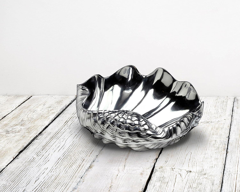 Coastal Christmas Tablescape Décor - Premium silver aluminum alloy large clam shell bowl by Arthur Court Designs