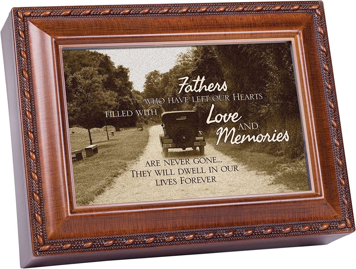 Cottage Garden Fathers Love and Memories Bereavement Woodgrain Rope Trim Music Box Plays Amazing Grace