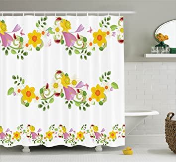 Daffodil Decor Shower Curtain Set By Ambesonne Horizontal Leaf And Flower Motifs Laurel Fairy Mother