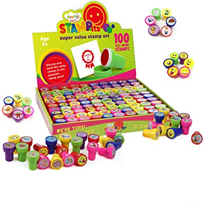 Kraftic 100 Piece Assorted Self Ink Stamp Set, with 5 Colors and 100 Different Designs: ABCs, Numbers, Math Symbols, Animals, Vehicles, and Everyday Objects: Toys & Games