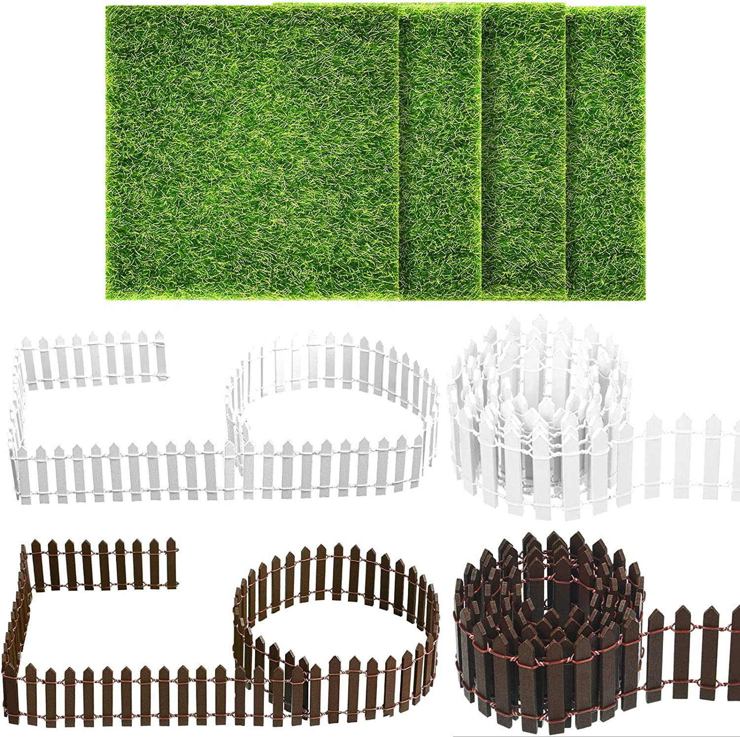 4 Pieces 35 Inch Miniature Fairy Garden Ornament Fence Brown and White Decorative Fence and 4 Pieces 6 x 6 Inch Artificial Garden Grass for Home Garden Plant Pot DIY Project