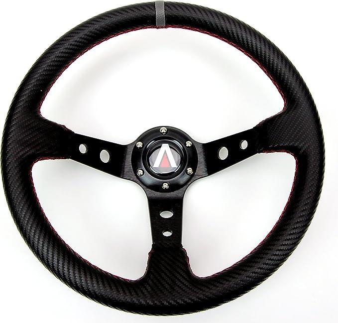 33CM Deep Dish  6 Bolt PVC Sports Drifting  Spoke Racing Steering Wheel Black