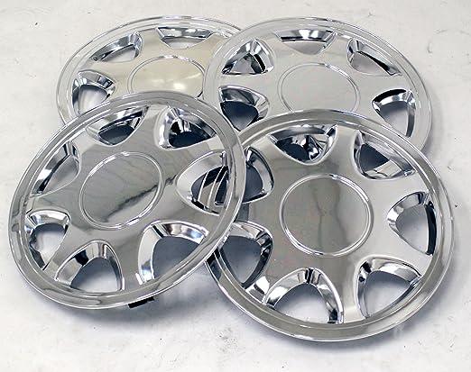 tuningpros wsc-108 C15 cromo Tapacubos rueda Skin Cover 15-inches plata conjunto de 4: Amazon.es: Coche y moto