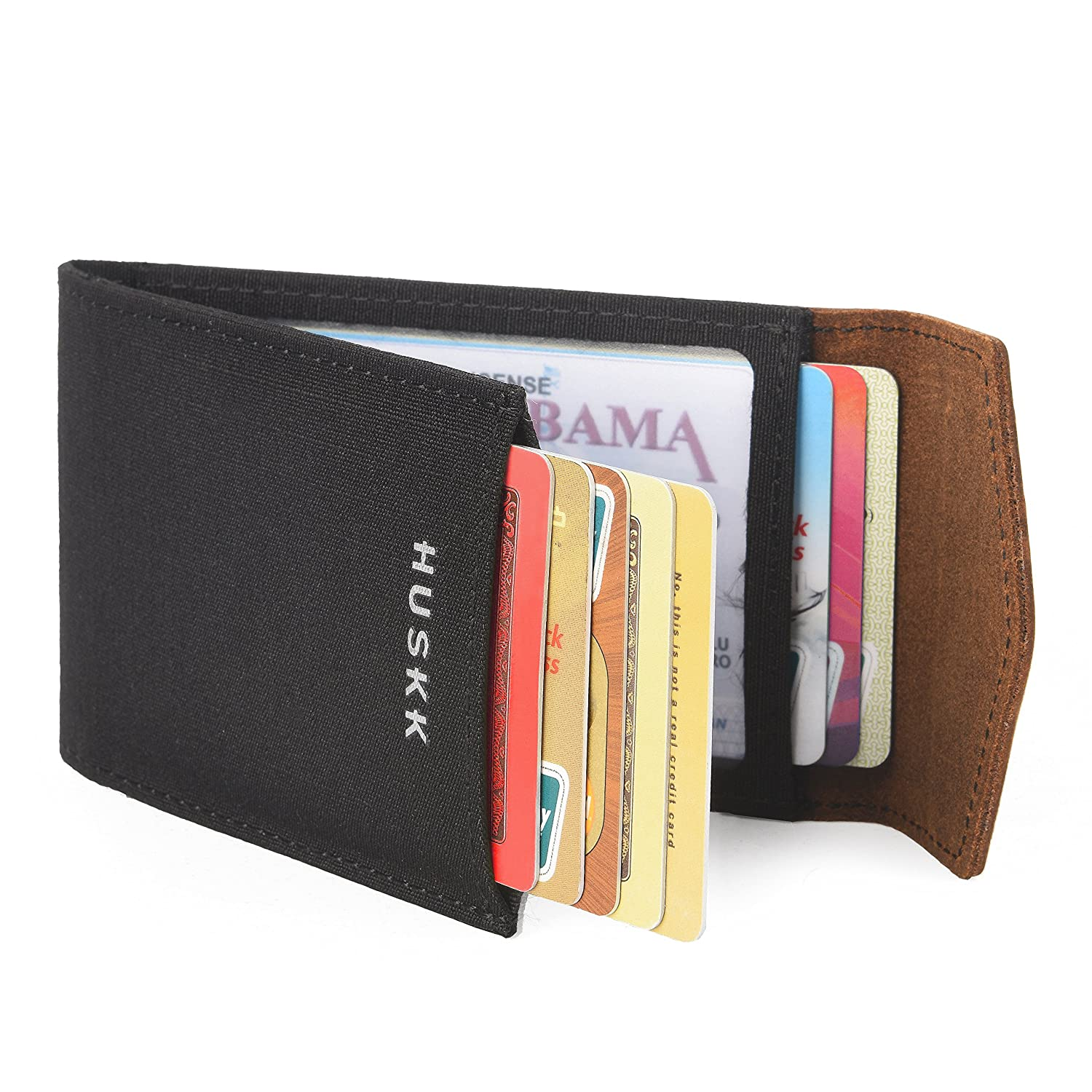 Slim Card Holder Front Pocket Wallet - Vegetable Tanned - HUSKK Black - Brown) CSBW10-DBCH