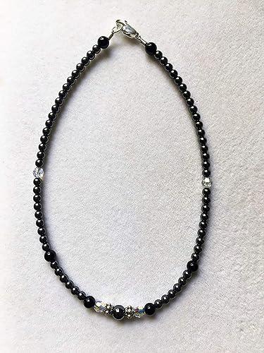 Amazon Com Black Silver Swarovski Crystal Ankle Bracelet Sizing In