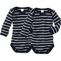 wellyou Baby und Kinder langarmbody/babybody mädchen und junge aus 100% Baumwolle, langarm body 2er Set in marine weiß