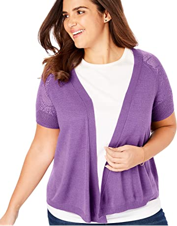 724410cfc6 Woman Within Women's Plus Size Open Front Short Sleeve Pointelle Cardigan  Sweater