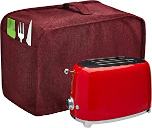 Toaster Cover with 2 Pockets,Can hold Jam Spreader Knife & Toaster Tongs, Toaster Appliance Cover with Top handle,Dust and Fingerprint Protection, Machine Washable (Red, 2 Slice)