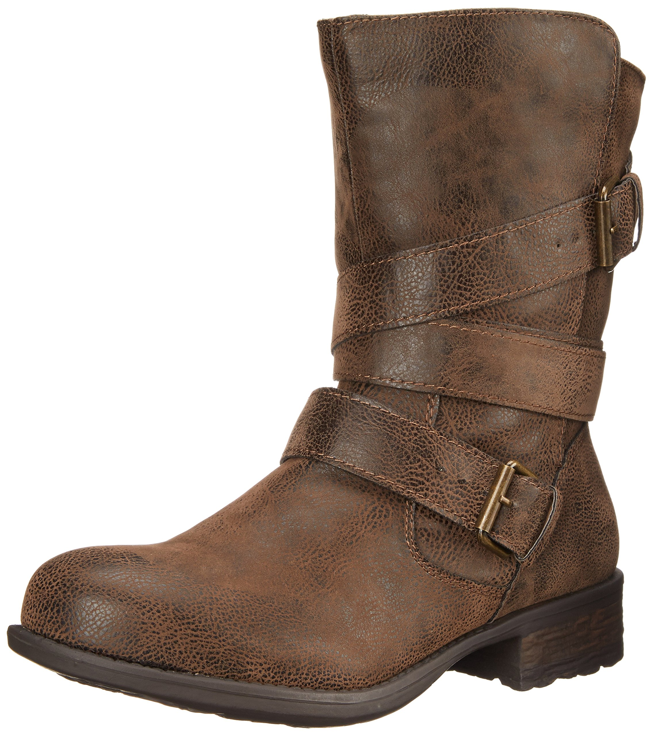 Rampage Women's Islet Motorcycle Buckle Mid Calf Low Heel Boot, Brown, 8.5 M US