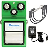 Tube Screamer Ibanez TS9 Classic Overdrive Pedal Distortion Pedal with Power Adapter and Patch Cables