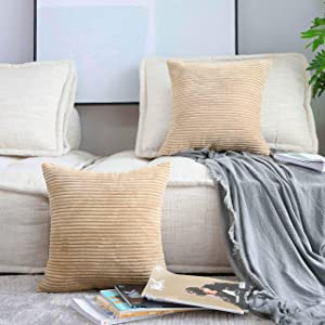 Home Brilliant Set of 2 Fall Throw Pillows for Bed Striped Velvet Pillow Protectors for Holiday, 16x16 inches, 40x40cm, Khaki
