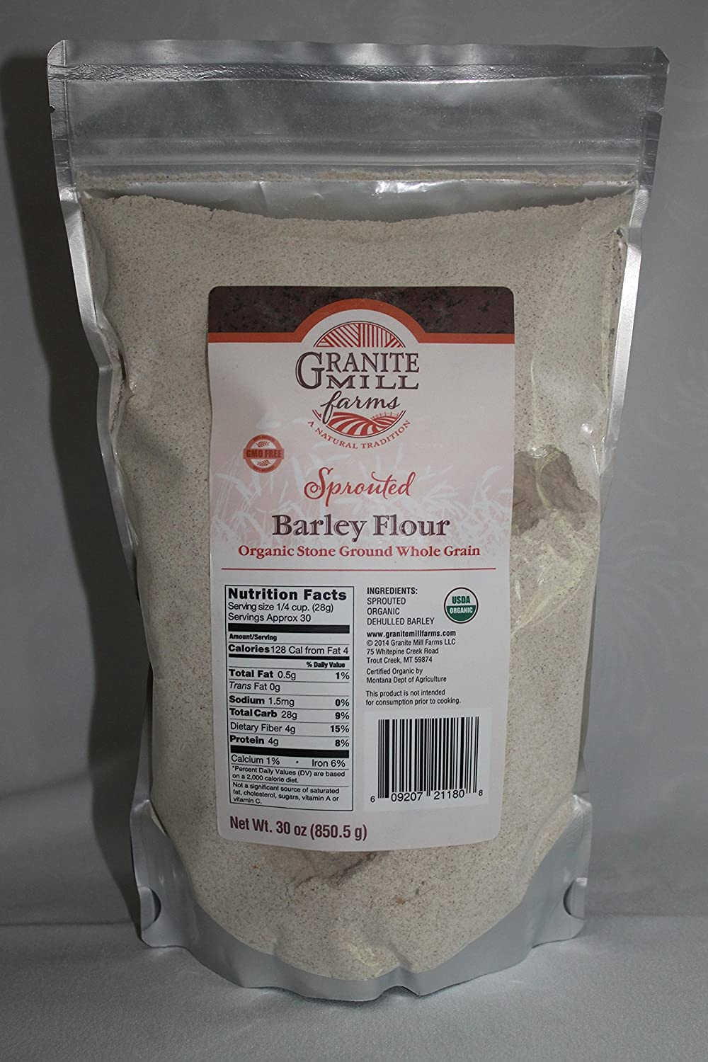 Stone Ground Sprouted Organic Barley Flour, 30 oz Granite Mill Farms