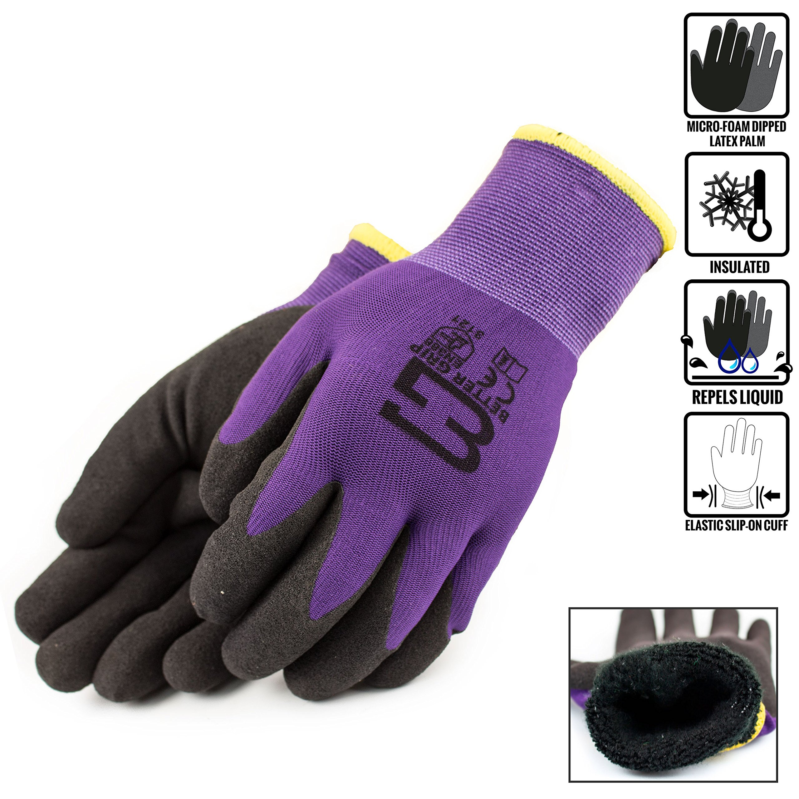 (Box Deal) BGWANS-PP-10L-CS, Better Grip Safety Winter Insulated Double Lining Rubber Coated Work Gloves, 72 Pairs/ CS (Large, Purple) by Better Grip