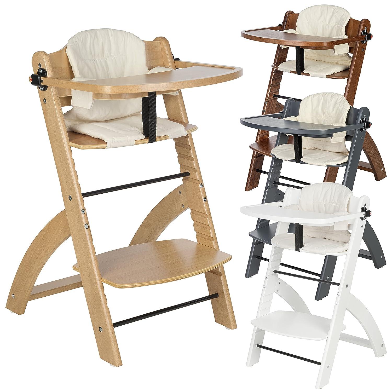 """♥ BOMI Kinderhochstuhl inkl. Tisch, 5-Punkt-Gurt, Sitzverkleinerer und Sicherheitsbügel - Mitwachsender Hochstuhl aus Holz - ab 6 Monate - Modell """"Lina ♥ (Natur)"""