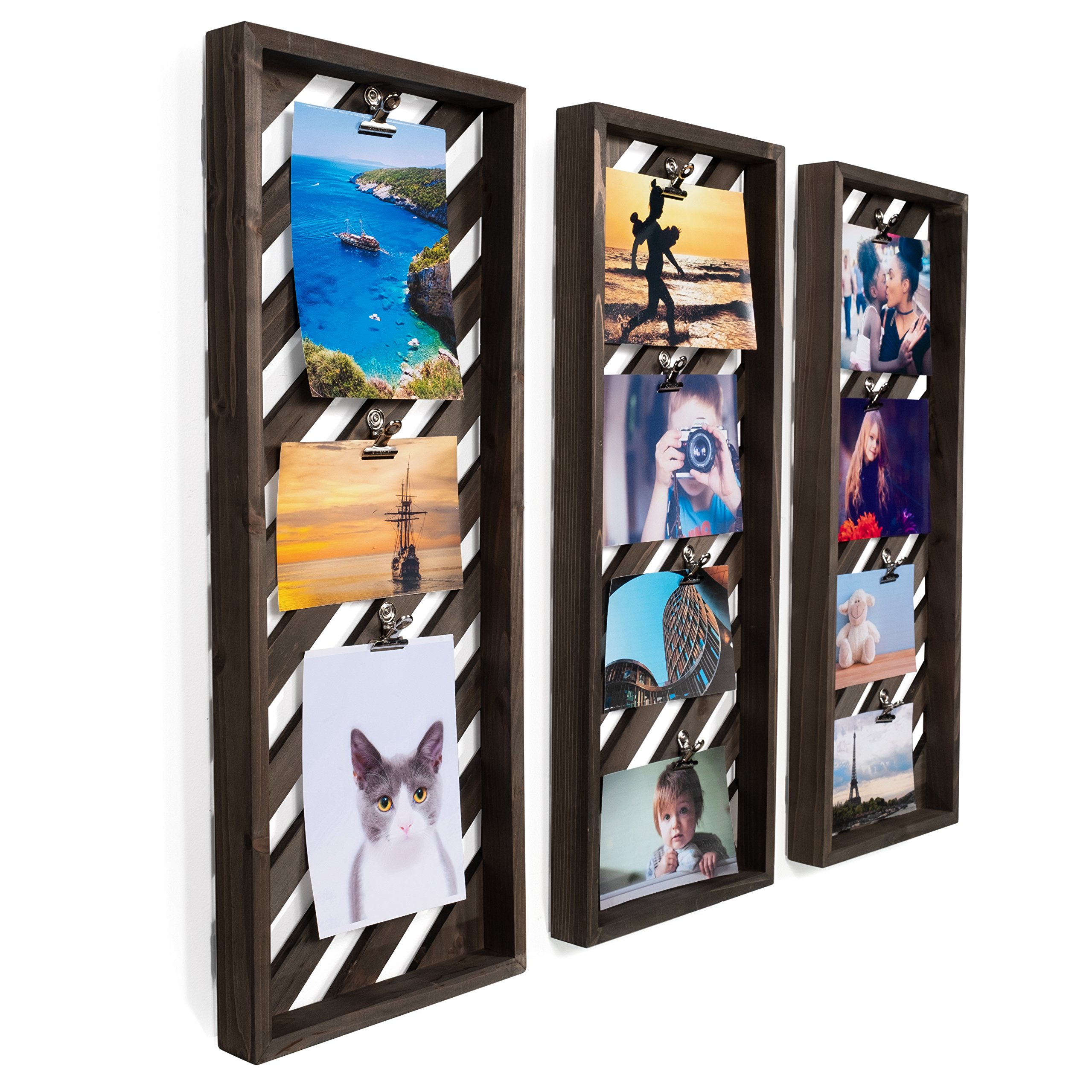 Brightmaison Rustic Décor Photo Display Clip Board Wood 23 Inch Set of 3 (Gray)