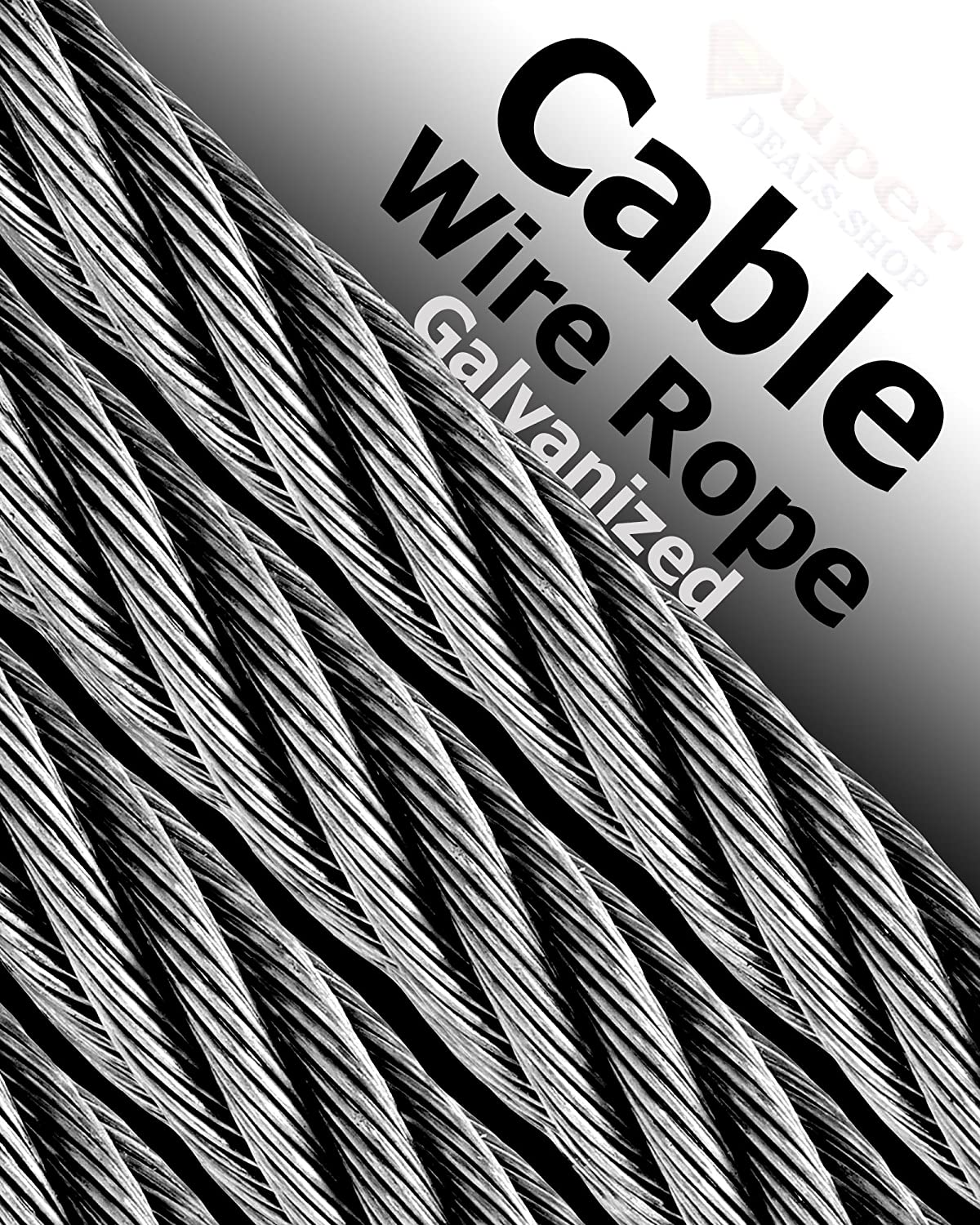 Galvanized Wire Rope Coated Aircraft Cable Heavy Duty Choose Size ...