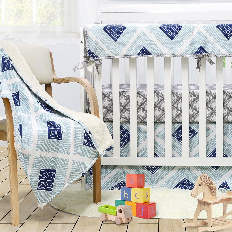 Brandream Boho Plaid Crib Bedding Set for Boysブルーベビーベビーベッド寝具セット、100 %ソフトコットン、低刺激性と通気性、3個   B07DPJGXV1