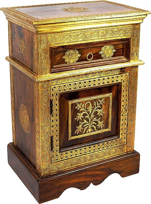 Marrakesch Gowri - Mesilla de noche de madera oscura de latón 65 cm de alto, estilo oriental vintage, decorada a mano, también para cama con somier, ...