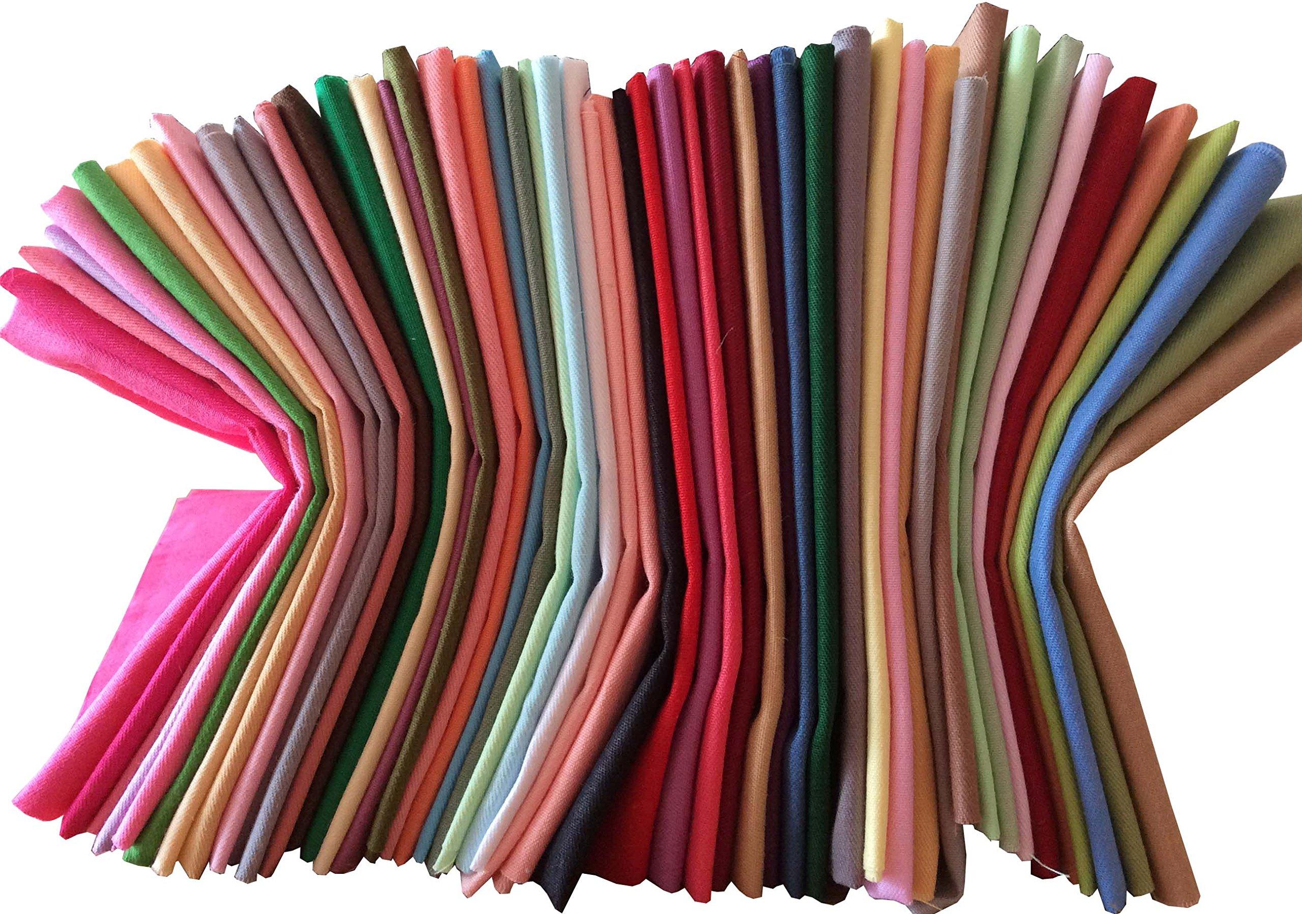 longshine-us 25pcs Solid Colors Premium Cotton Craft Fabric Bundle Squares Patchwork Lint DIY Sewing Scrapbooking Quilting Dot Pattern Artcraft (10'' x 10'') by longshine-us (Image #5)