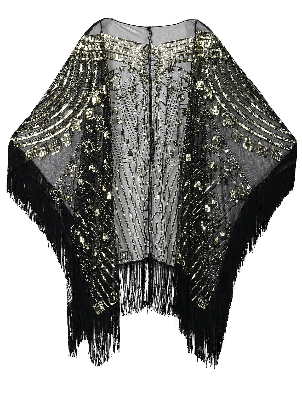 PrettyGuide Women's Evening Wrap Beaded 1920s Shawl Fringed Oversized Cover up V219C