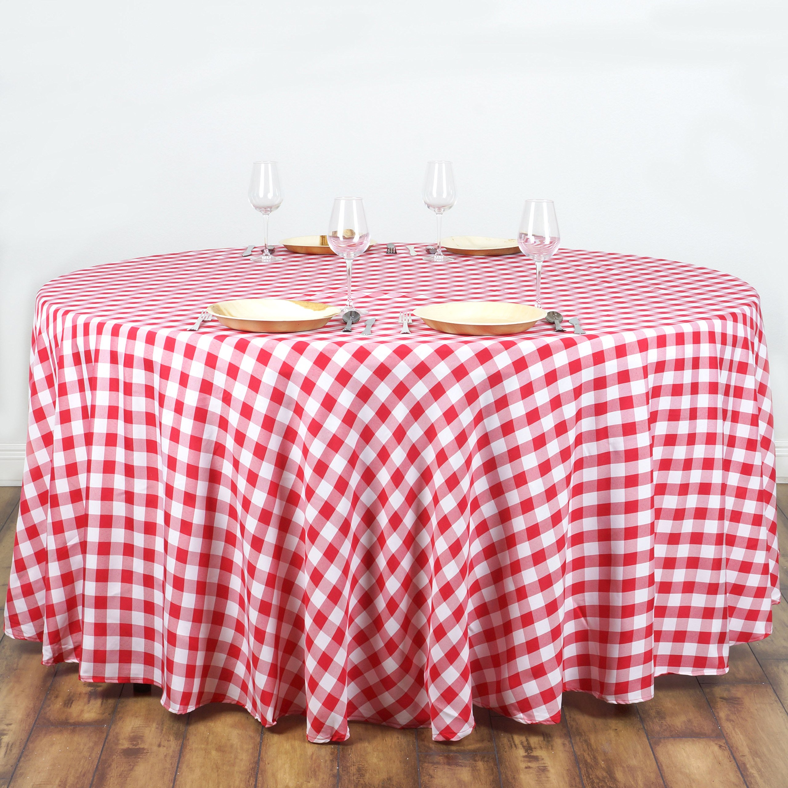 Efavormart 108'' Round RED/WHITE Checkered Wholesale Gingham Polyester Linen Picnic Restaurant Dinner Tablecloth