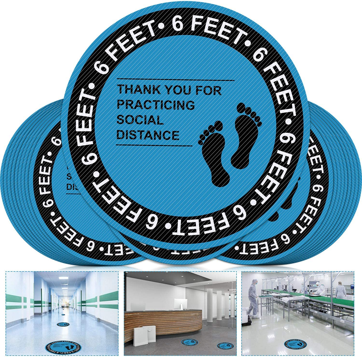 12 Pieces Social Safe Distancing Floor Decal Stickers, 8 Inch Circle Sticker Safety Floor Sign Markers for Crowd Guidance Control, Grocery, Offices, Bank Stand Decal, Waterproof (Blue and Black)
