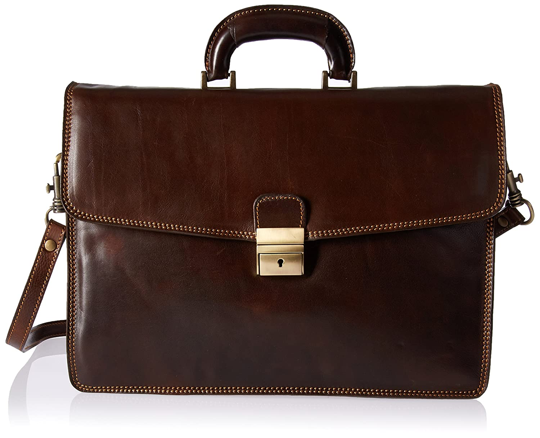 Image of Alberto Bellucci Italian Leather Single Compartment Slim Briefcase