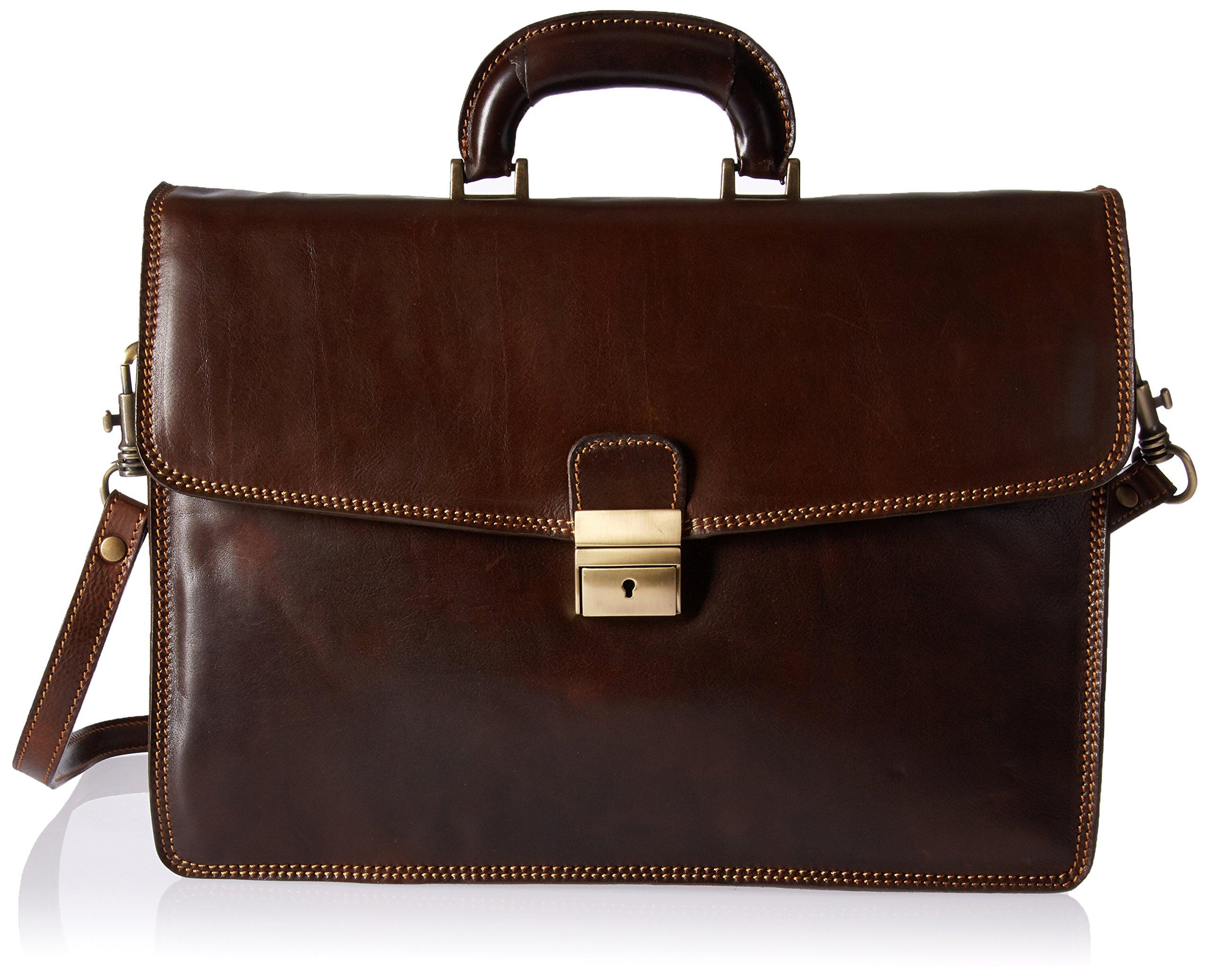 Luggage Depot USA, LLC Men's Alberto Bellucci Italian Leather Single Compartment Slim D. Brn Briefcase, Dark Brown, One Size
