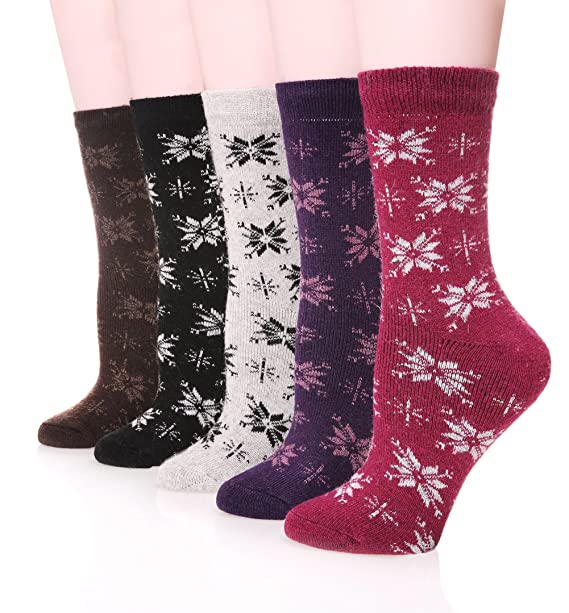SDBING Mujer Extra Grueso Heavyweight calcetines de lana de Merino calcetines suaves, 5-Pack: Amazon.es: Ropa y accesorios