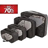 ✅ Packing Cubes Set - 4 Travel Luggage Organizer with 1 Laundry Bag, Black