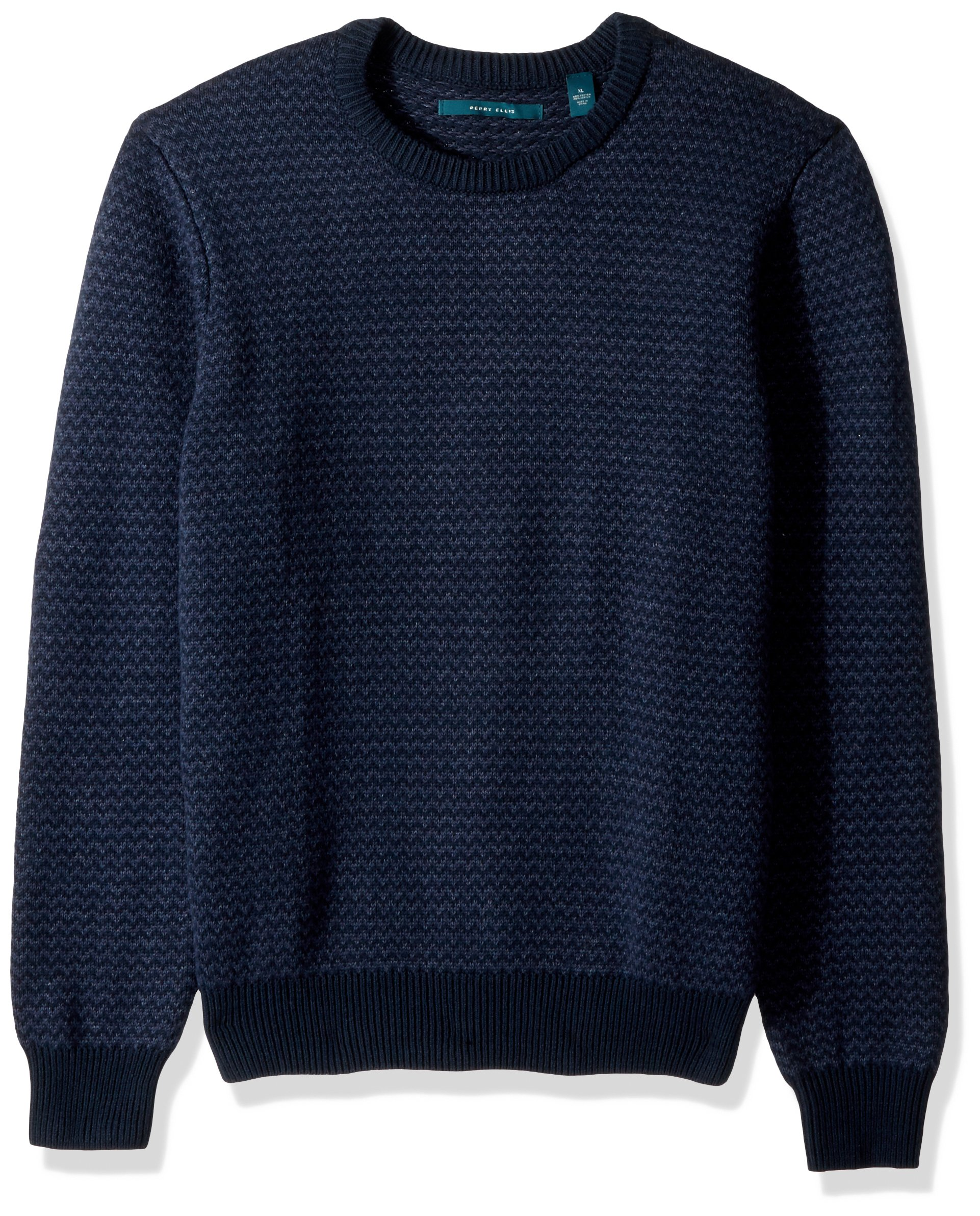 Perry Ellis Men's Herringbone Crew Neck Sweater, Dark Sapphire, Large