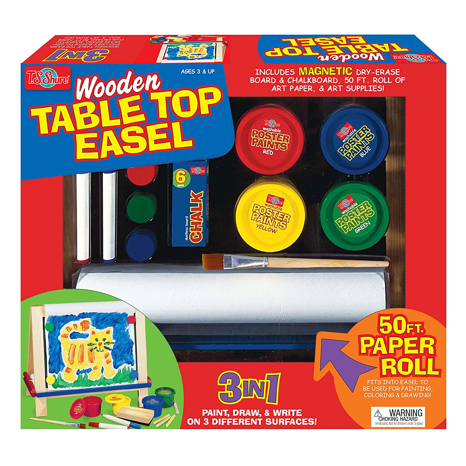 Amazon.com: T.S. Shure Wooden Table Top Easel Playset: Toys & Games
