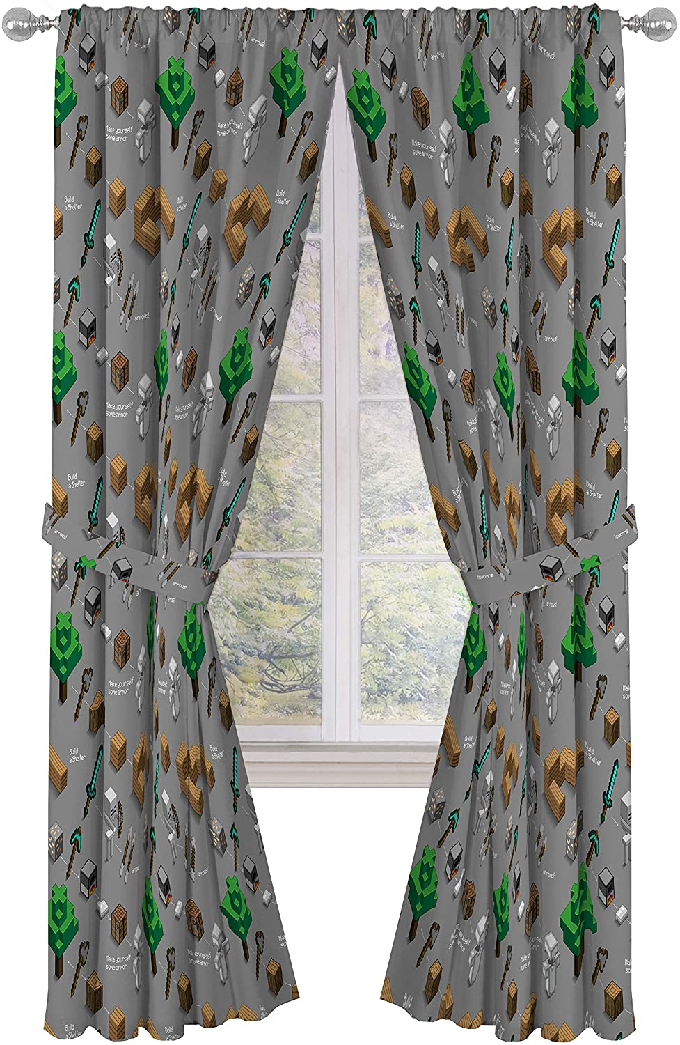 Amazon Com Jay Franco Minecraft Survive Dark 84 Inch Drapes 4 Piece Set Beautiful Room Decor Easy Set Up Window Curtains Include 2 Panels 2 Tiebacks Official Minecraft Product Home Kitchen