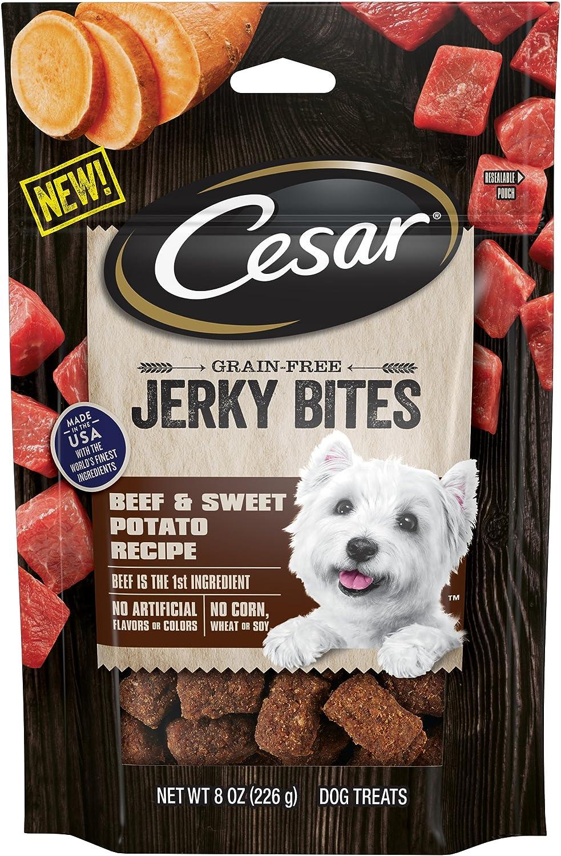 Cesar Jerky Bites Grain Free Dog Treats Beef Sweet Potato Recipe, 6 8 Oz. Pouches