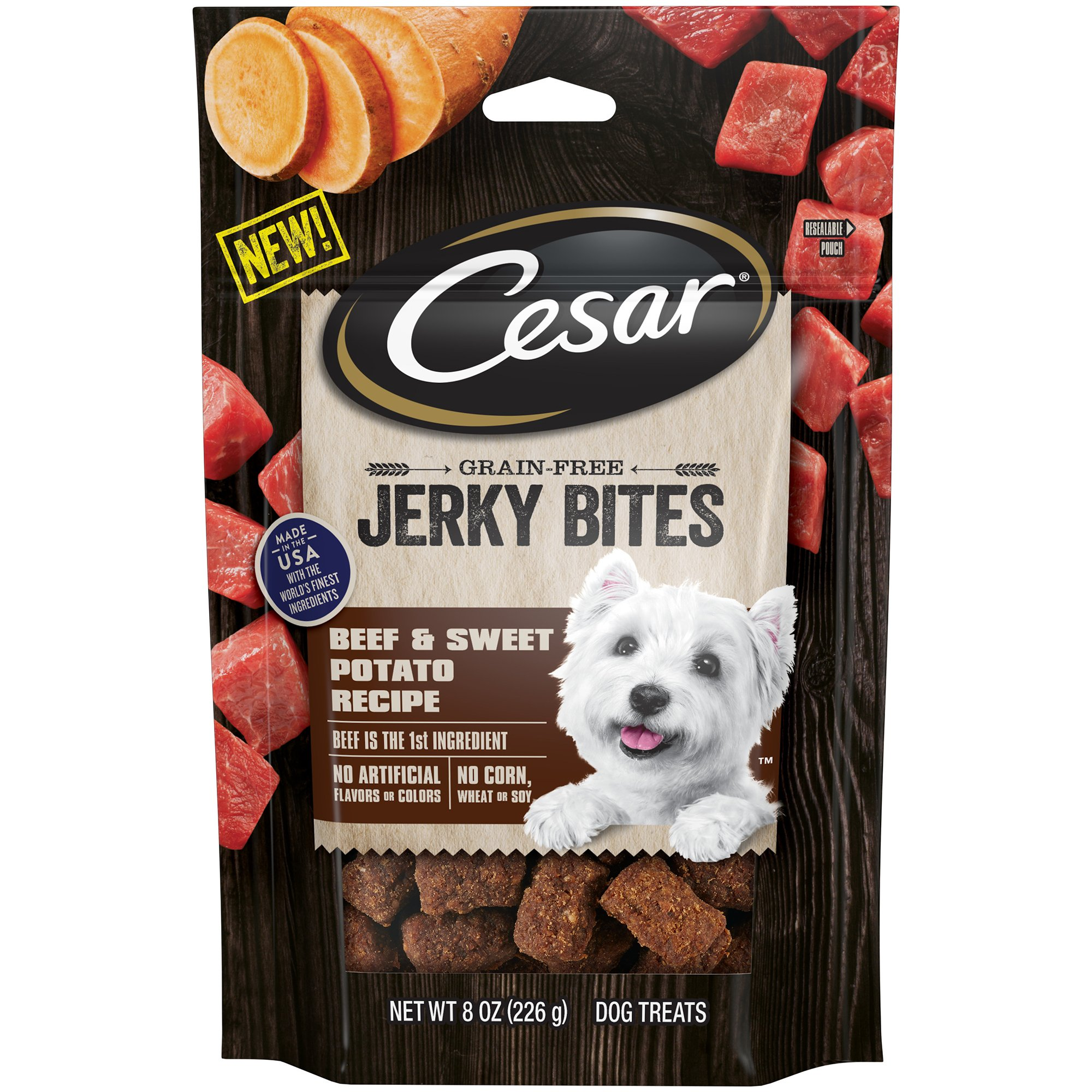 Cesar Jerky Bites Grain Free Dog Treats Beef & Sweet Potato Recipe, (6) 8 Oz. Pouches