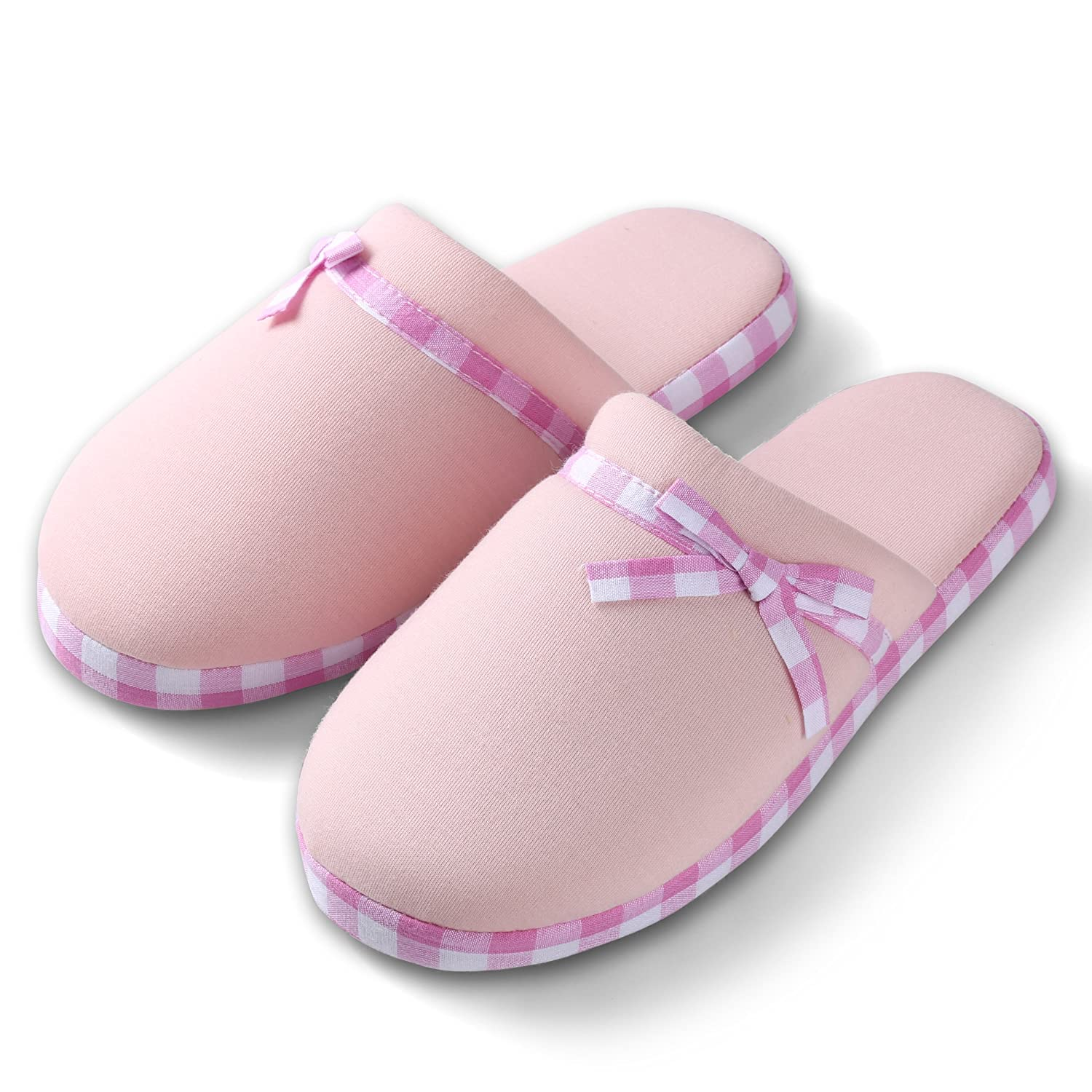 Roxie Womens Checker Slide Cute Light Pink Cozy Lazy Lounging Soft Bedroom House Slippers