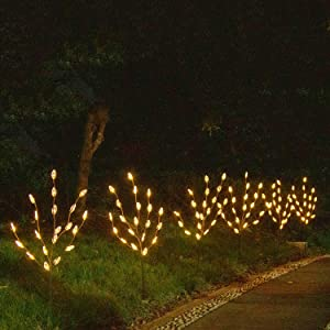 EAMBRITE Brown Twig Branches with Acrylic Leaves 30IN 60LT Outdoor Garden Stake Lights with Warm White LED Plug in for Walkway Patio Yard Garden Lawn Decoration Indoor and Outdoor Use (Vase Excluded)