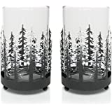 Rustic Candle Holders - Set of 2 Glass Metal Winter Trees Candle Holders - Holiday Tabletop Décor
